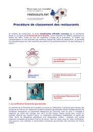 Procédure de classement des restaurants - Restocours.net