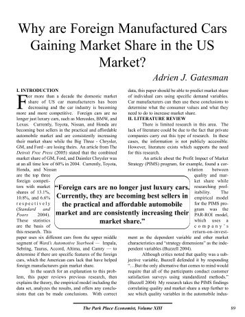Why are Foreign Manufactured Cars Gaining Market Share in the US