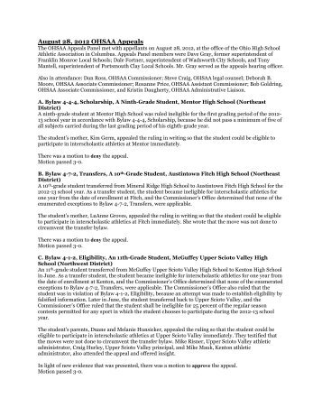 understanding of ohio high school athletic associations In short, interscholastic athletic programs are educational in nature and   mogadore board of education and the ohio high school athletic association   read, understand and follow the school's rules for coach/parent communications  8.