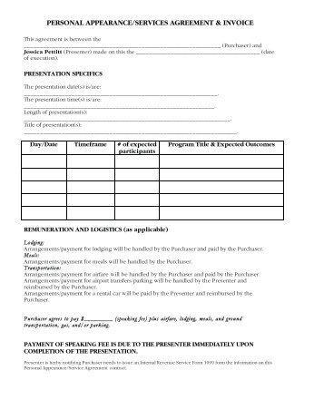 personal appearanceservices agreement invoice jessica pettitt