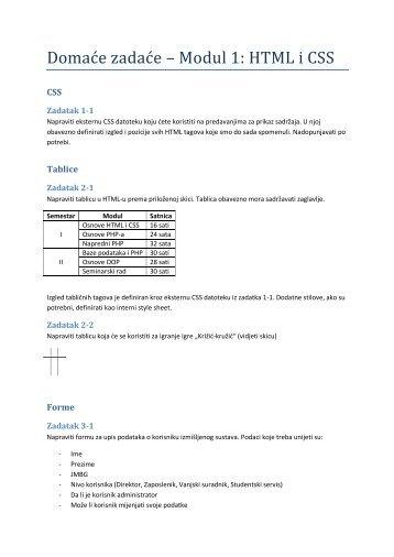 Domaće zadaće – Modul 1: HTML i CSS - Assembla