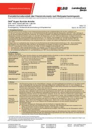 Produktinformationsblatt - Landesbank Berlin - Zertifikate