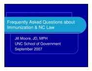 Frequently Asked Questions about Immunization & NC Law