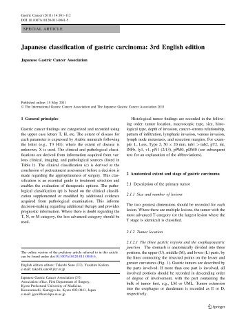 Japanese classification of gastric carcinoma: 3rd English edition