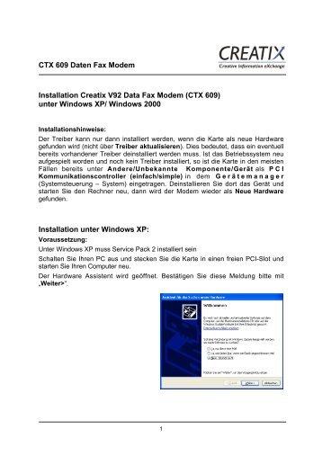 CTX 609 Daten Fax Modem Installation Creatix V92 Data Fax ...