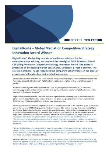 DigitalRoute Global Mediation Competitive Strategy Innovation ...
