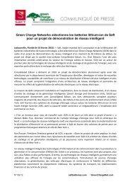 Green Charge Networks sélectionne les batteries lithium-ion de Saft ...