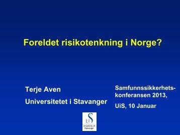 Terje Aven - Universitetet i Stavanger