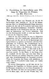X. Verscliiebulig der Spctrullinien unter Wig*- kung cler Teniperatur ...