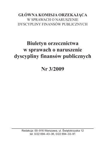 Numer 3 z 2009 r. - Ministerstwo Finansów