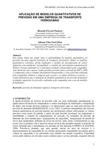 aplicação de modelos quantitativos de previsão em uma ... - Ucg