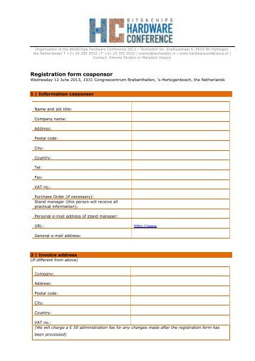 BCHC13 Registration form Cosponsor - Hardware Conference 2013