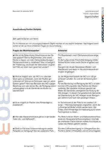Frage- und Antwortkatalog zur Ausschreibung ... - Bassersdorf