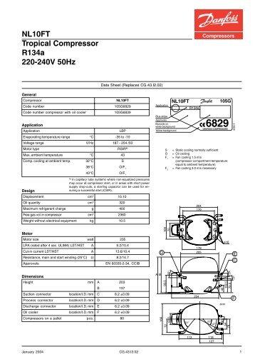 SC18F Standard Compressor R134a 220-240V 50Hz
