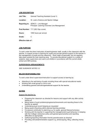 JOB DESCRIPTION Job Title: Teaching Assistant Level 1: Salary ...