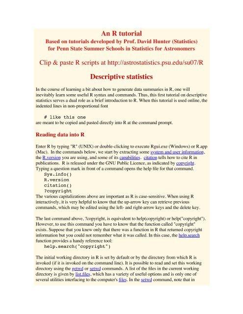 An R tutorial Descriptive statistics - Center for Astrostatistics