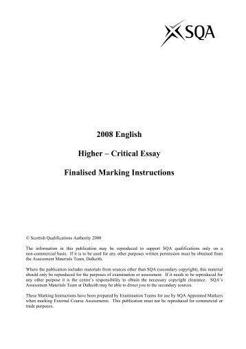sqa intermediate 2 english critical essay past paper Click here sqa intermediate 2 english critical essay marking scheme 3 papers found for english, displaying all papers page 1 marking instructions for intermediate.