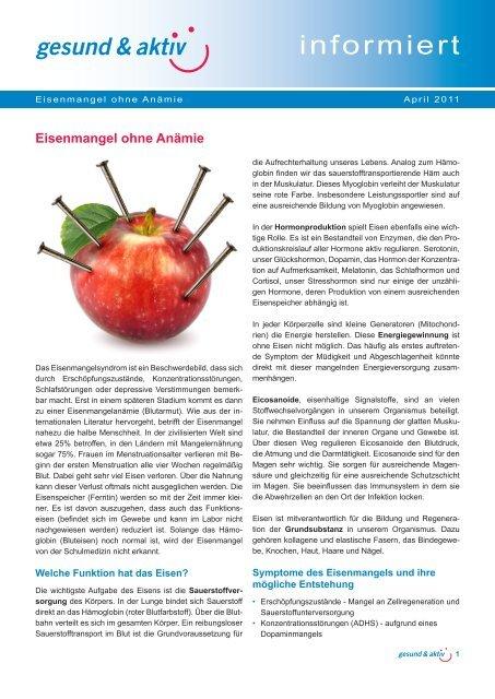 Eisenmangel ohne Anämie.indd - gesund & aktiv