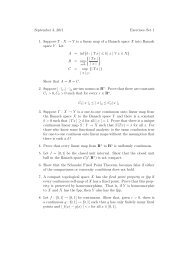 September 3, 2011 Exercises–Set 1 1. Suppose T : X → Y is a linear ...