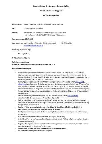 Ausschreibung Breitensport Turnier (WBO) - RJMV