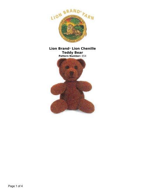 Lion Brand® Lion Chenille Teddy Bear - Crochet Baby Patterns