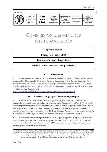 COMMISSION DES MESURES PHYTOSANITAIRES