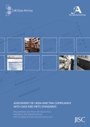 Assessment of UKDA and TNA compliance with OAIS and METS - Jisc