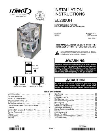 Trane xr90 Furnace Installation Manual