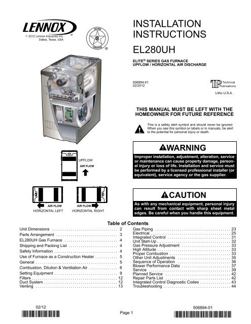 El280uh Two Stage Gas Furnace Installation Manual Lennox