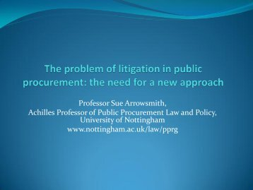 by Sue Arrowsmith - Public Procurement Network