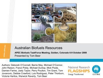 Resource Assessments in Australia - APEC Biofuels