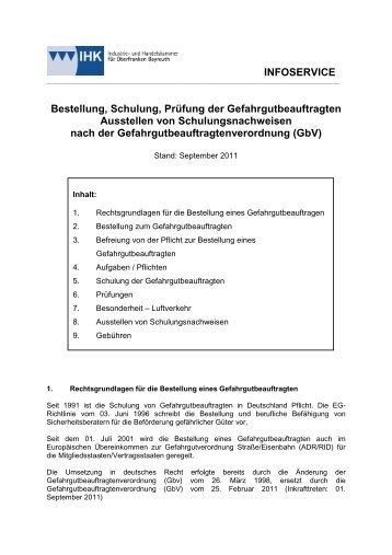 Schulung Gefahrgutbeauftragter September 2011 - IHK Oberfranken