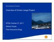Overview of Ormen Lange Project - NTNU
