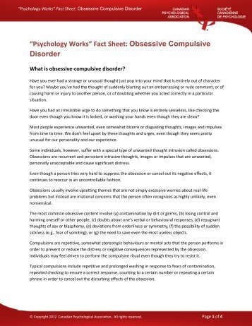 Obsessive Compulsive Disorder - Canadian Psychological ...