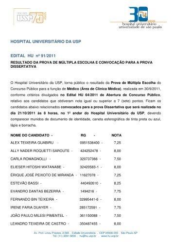 HOSPITAL UNIVERSITÁRIO DA USP EDITAL HU nº 91/2011