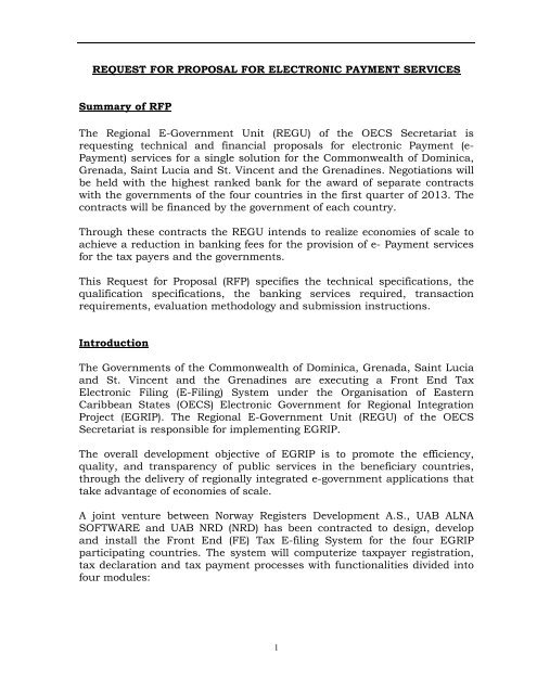 RFP- Proposal for Electronic Payment Services - Government