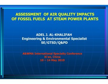 assessment of air quality impacts of fossil fuels at steam power plants