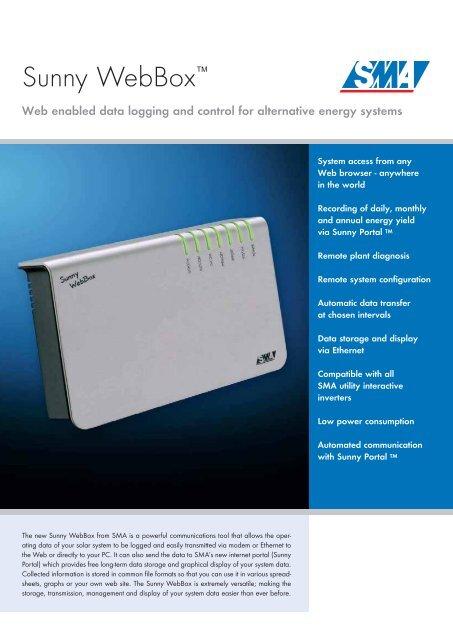 SMA WebBox Datasheet final pdf - Energy Matters
