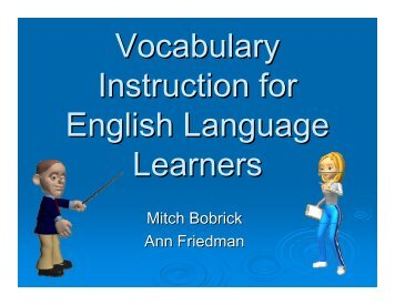 Vocabulary Instruction for English Language Learners - The School ...