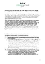 Le concept de formation en médecine manuelle SAMM
