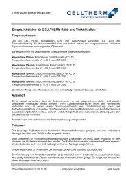 Einsatzrichtlinien für CELLTHERM Kühl- und Tiefkühlzellen