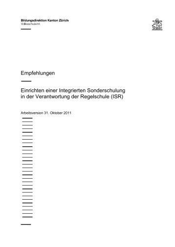 Einrichten einer Integrierten Sonderschulung in der ... - Volksschulamt