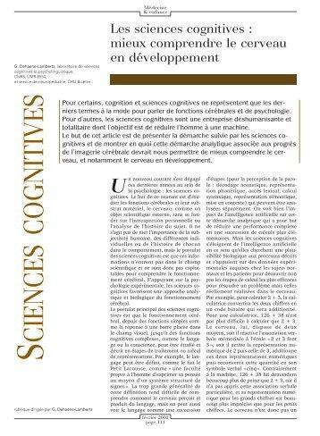 Les sciences cognitives - INSERM-CEA Cognitive Neuroimaging Unit