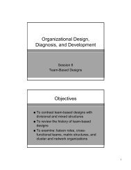 Organizational Design, Diagnosis, and Development Objectives