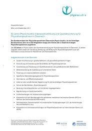 PA Physiotherapie allgemein - Physio Austria