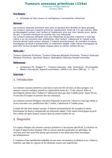 Tumeurs osseuses primitives (154a)