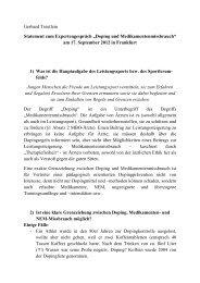 Statement Gerhard Treutlein - Sport pro Gesundheit