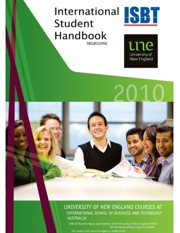 UNE-ISBT International Student Handbook - University of New ...