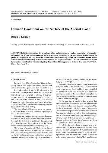 Climatic Conditions on the Surface of the Ancient Earth