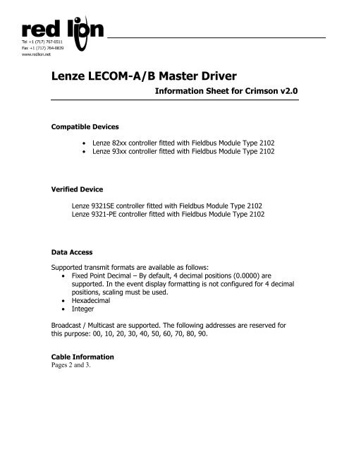 Lenze LECOM-A/B Master Driver - Red Lion Controls